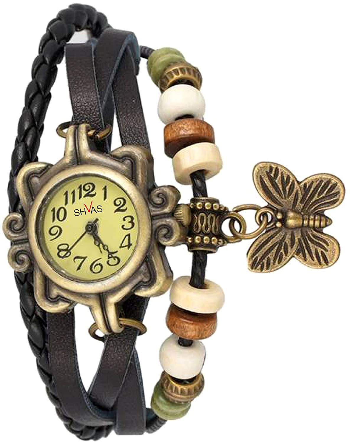 Deals on SHVAS -- Leather Bracelet Watch - Analog Display - Off White Dial - for women