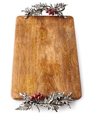 Wood Cutting Board with Silver Metal Holly Dimensional Accents by Mud Pie