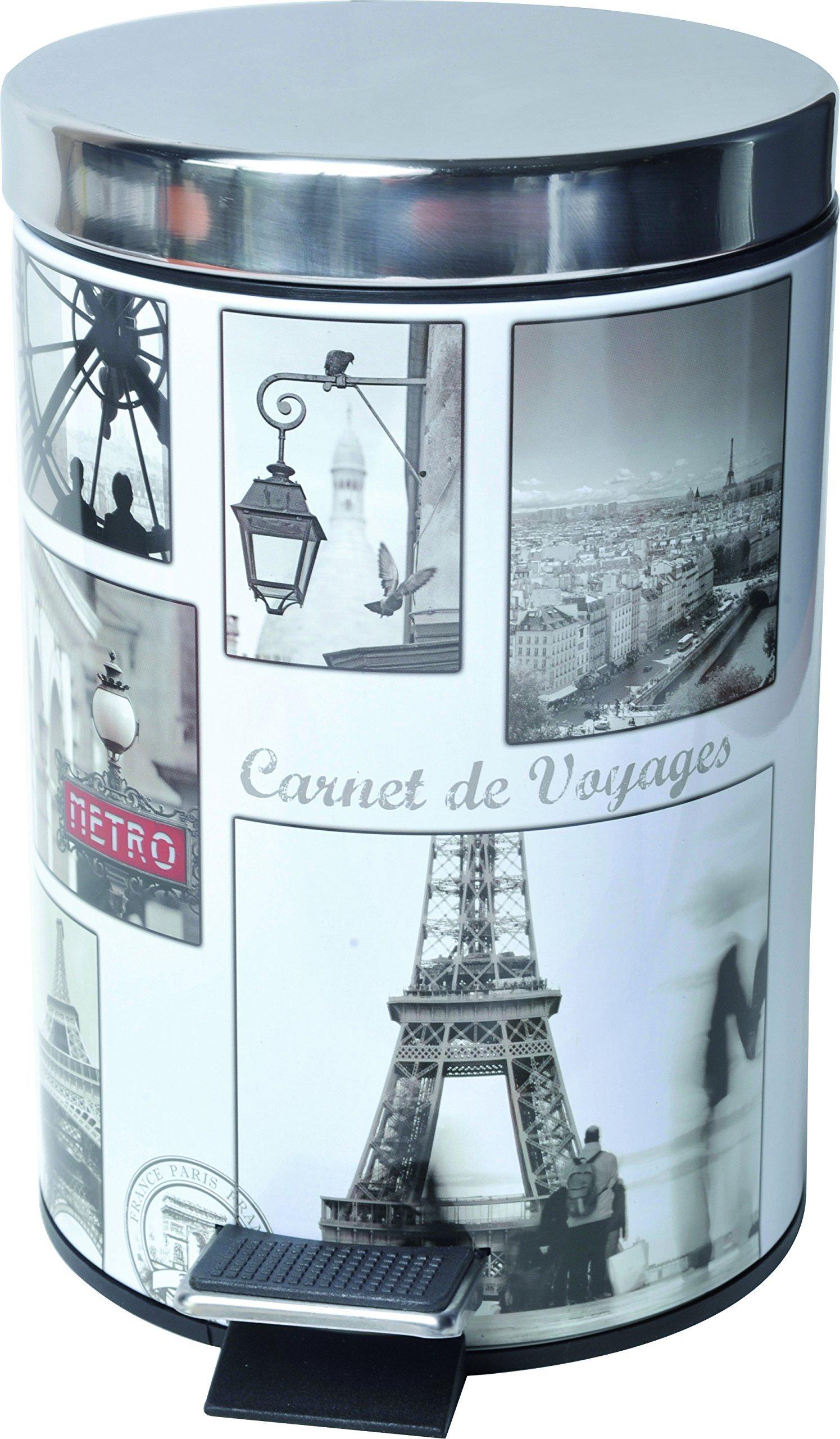 Paris Romance 0 8 Gal Vintage Paris Round Metal Step Trash Can