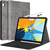 iPad Pro 11 Case with Keyboard - Detachable Wireless Keyboard [Support Apple Pencil Charging] - PU Leather Folio Stand Cover with Pencil Holder for iPad Pro 11 Inch 2018, Gray (Color: for-iPad Pro 11