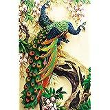 ZHENC Double Peacock Flower Tree Animals 5D DIY Full Square Diamond Painting Embroidery Full Drill Craft Decor Cross Stitch Kits (Tamaño: 50x75CM)