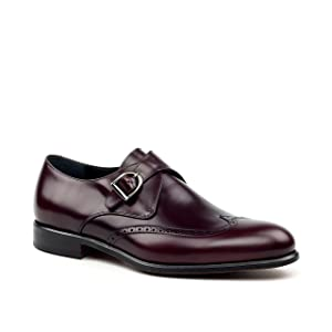 Smythe & Digby Men's Wingtip Single Monk Strap Dress Shoes Cordovan (10, Cordovan)
