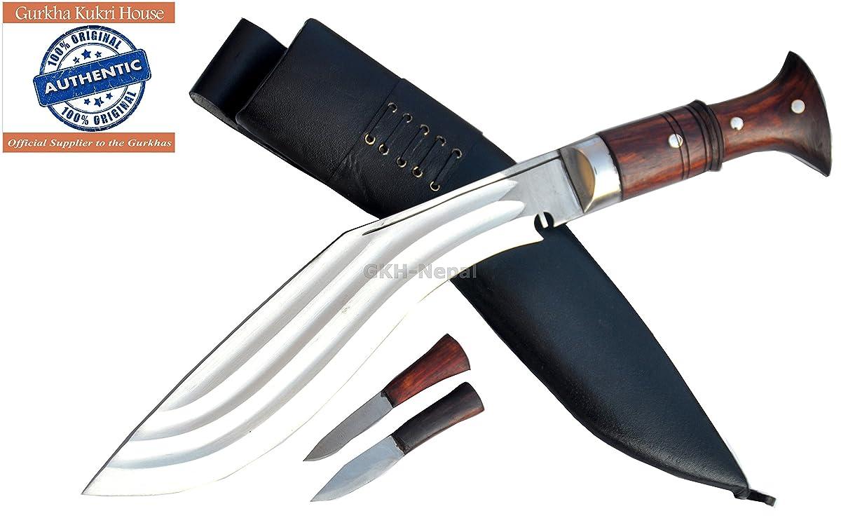 "Authentic Gurkha Kukri Knife - 12"" Blade Tin Chirra (3 Fullers) the Beast Kukri, Handmade from Gurkha Kukri House- Handmade in Nepal by GKH-Nepal imported by Gope Corp."