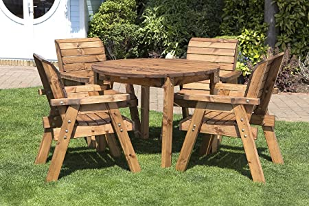 Round Wooden Garden Table and 4 Chairs Dining Set - Outdoor Patio Solid Wood Garden Furniture