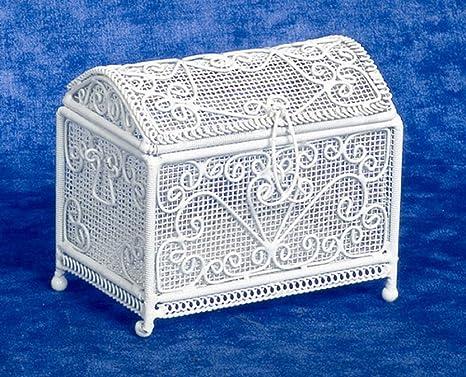 Maison de Poupées meuble miniature blanc fil fer Ottoman coffre