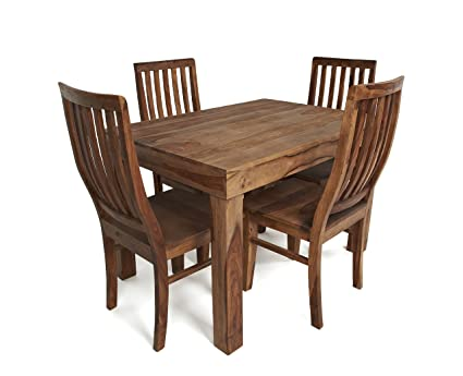 Sabichi New Agra Dining Set of Sheesham Wooden Table and 4 Chairs 132505