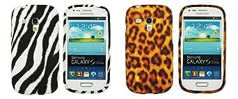 Kit Me Out IT - Samsung Galaxy S3 Mini i8190 III Android Pacchetto Di 2 - Protezione Custodia / Cover / Skin Gel TPU Verticale Nero & Bianco Zebra & Marrone Leopardo