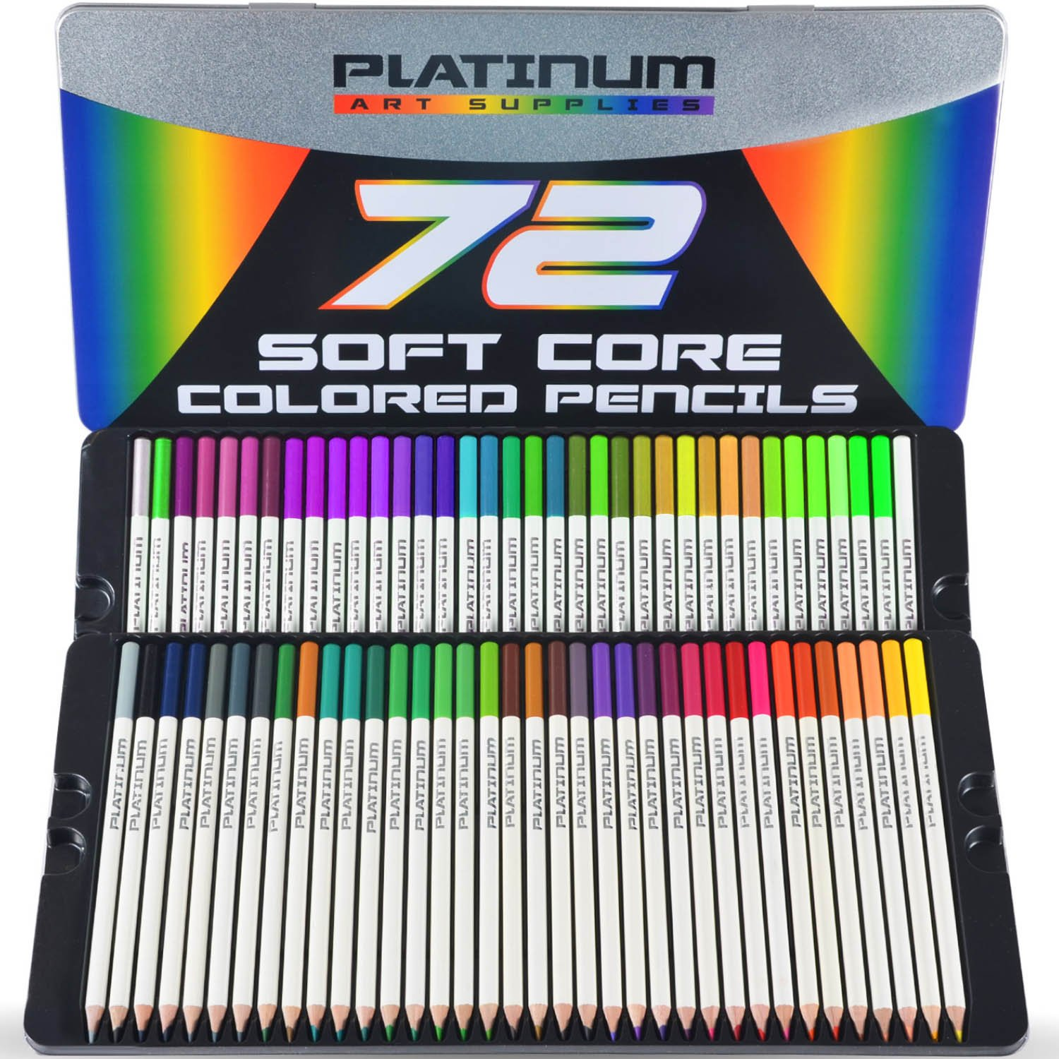 Premium Colored Pencils (SET OF 72) Soft Core Lead Ultra Smooth in 72 Individual Colors (No Duplicates) in a Beautiful Tin Case - Pre-Sharpened - Highest Quality - Perfect for Artists & Beginners