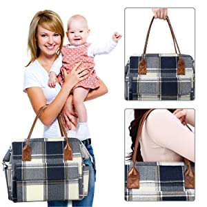 Zooawa Diaper Bag, Large Capacity Baby Nursing Diaper Bag, Portable Travel Handbag Nappy Tote with Insulated Milk Bottle Bag, Blue  White