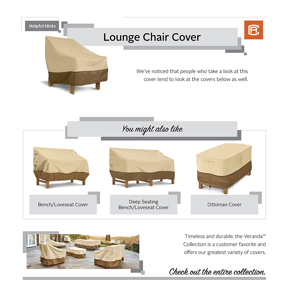 Classic Accessories Veranda Patio Lounge Chair/Club Chair Cover - Durable and Water Resistant Outdoor Furniture Cover, Large