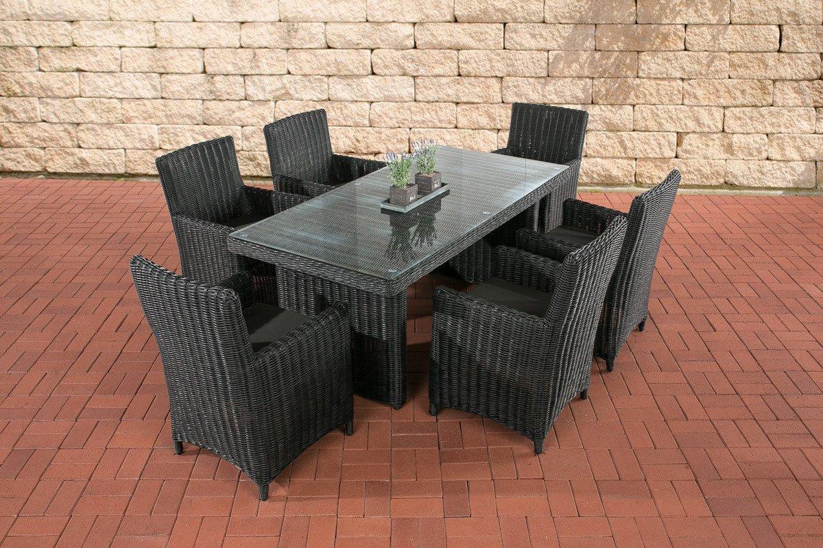 CLP Polyrattan Sitzgruppe FONTANA, schwarz, (6 Stühle mit Tisch 180 x 90 cm) INKL. bequemen Sitzkissen, Premiumqualität: 5 mm Rund-Rattan schwarz, Bezug: Anthrazit