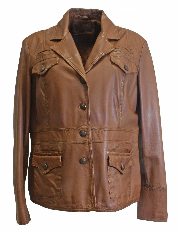 Chocina – zeitlose butterzarte Lederjacke in COGNAC BRAUN Damenjacke Frühjahrs Jacke aus sehr feinem hochwertigem echtem Leder online kaufen