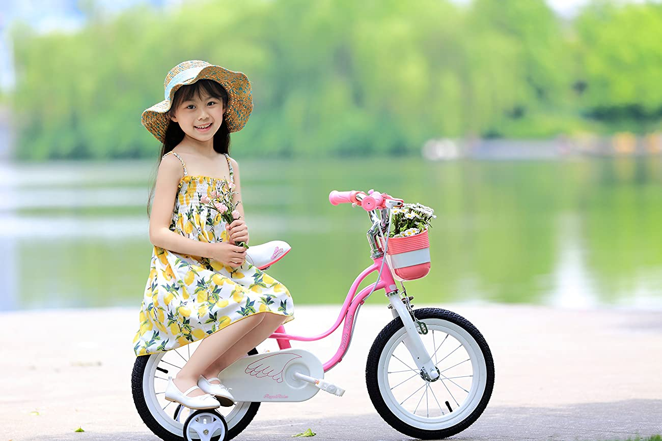 RoyalBaby Little Swan Girl's Bike with basket, 14 inch with training wheels, 18 inch with kickstand, gifts for kids, girls' bicycles 6