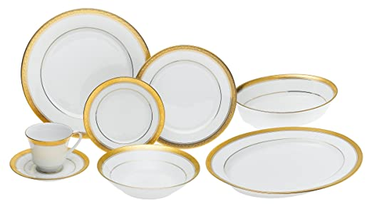 Noritake Crestwood Gold Fine China Dinnerware 50 Piece Set - Service for 8