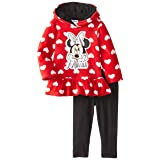 Disney Baby Girls' Minnie Mouse 2 Piece Heart Fleece Set, Chinese Red, 18 Months (Color: Chinese Red, Tamaño: 18 Months)