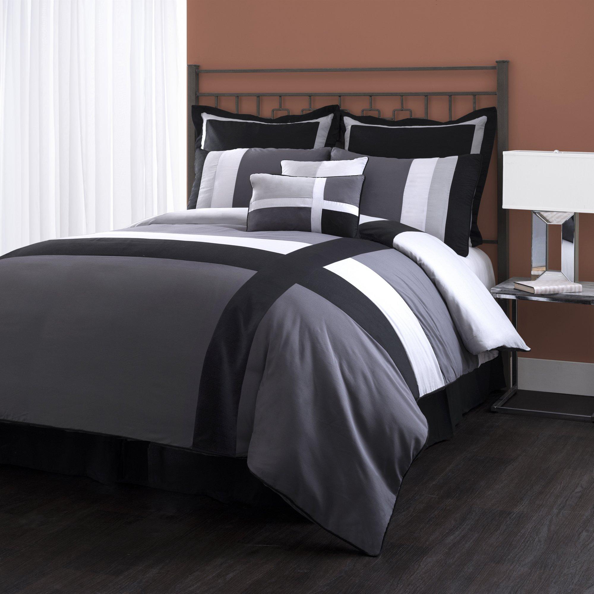 lush decor isa 8 piece comforter set queen gray black ebay. Black Bedroom Furniture Sets. Home Design Ideas