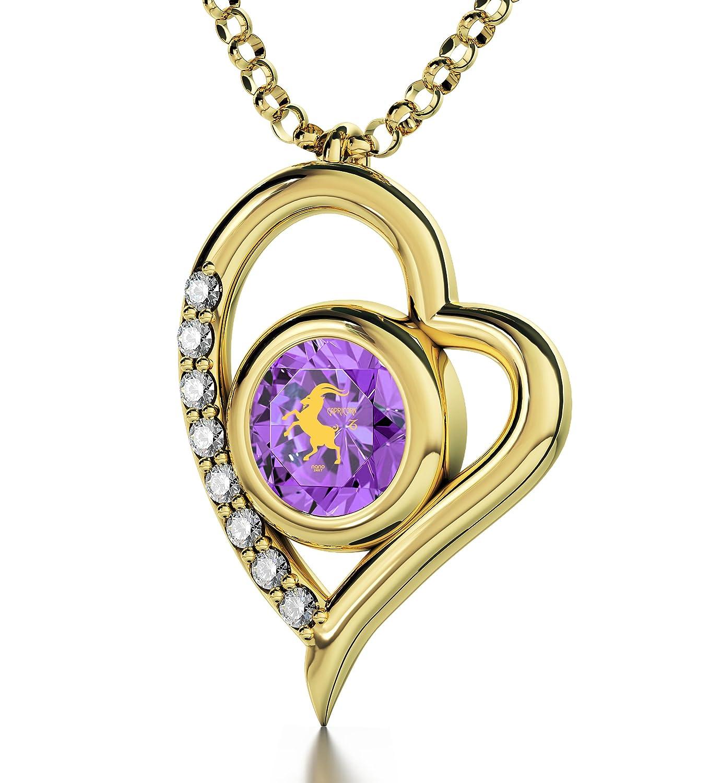 Vergoldete Steinbock-Halskette – Herzanhänger mit Beschriftung in 24k Gold auf kristallenem Zirkonia-Edelstein – Einzigartige Geburtstagsgeschenke – Sternzeichen-Amulett für SIE online kaufen