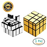 Ganowo Speed Cube PuzzleSmooth Magic Cube Set | Toy Bundle Pack | Brain Teaser Puzzle Gift (Gold Mirror+Sliver Mirror)