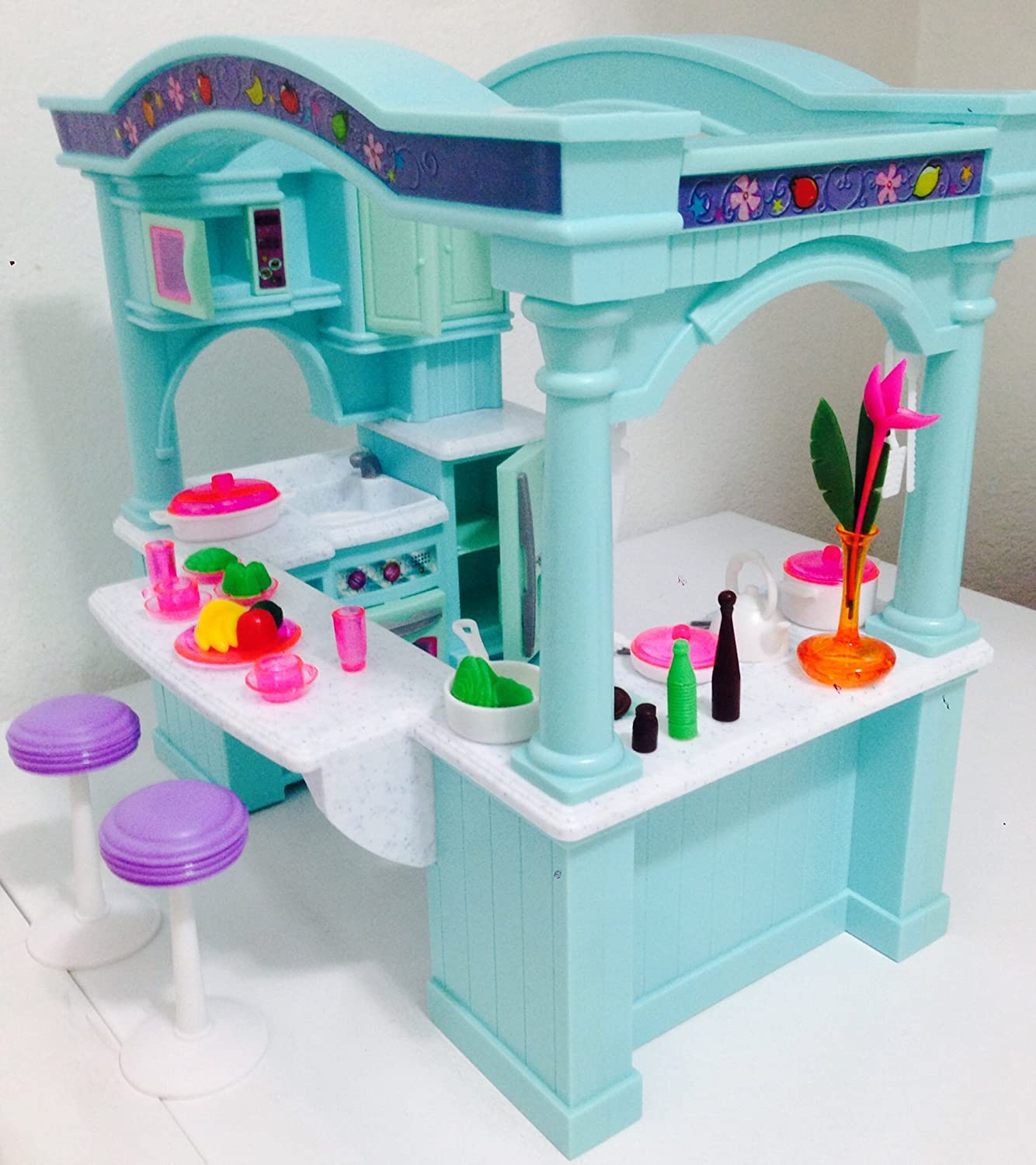 Dollhouse doll furniture barbie princess playset toy house for Doll kitchen set