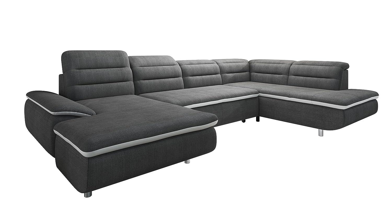 New Level Solution Wohnlandschaft Recamiere 2 Sitzer mit Funktion Ottomane Stoff,  208 x 350 x 79  cm, grau / weiß