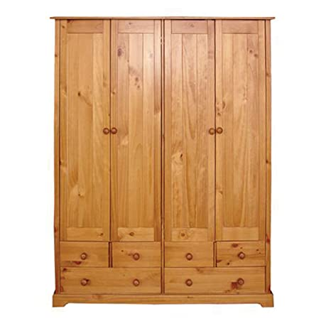 Baltic 4-Door Plus 6-Drawer Wardrobe with Varnish, Antique Pine