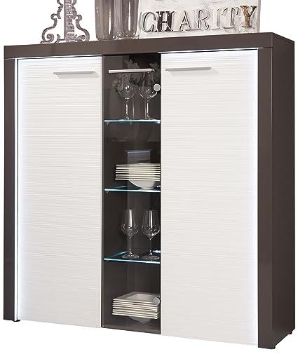 Furnline Flamingo Living Room Cabinet, Grey/White