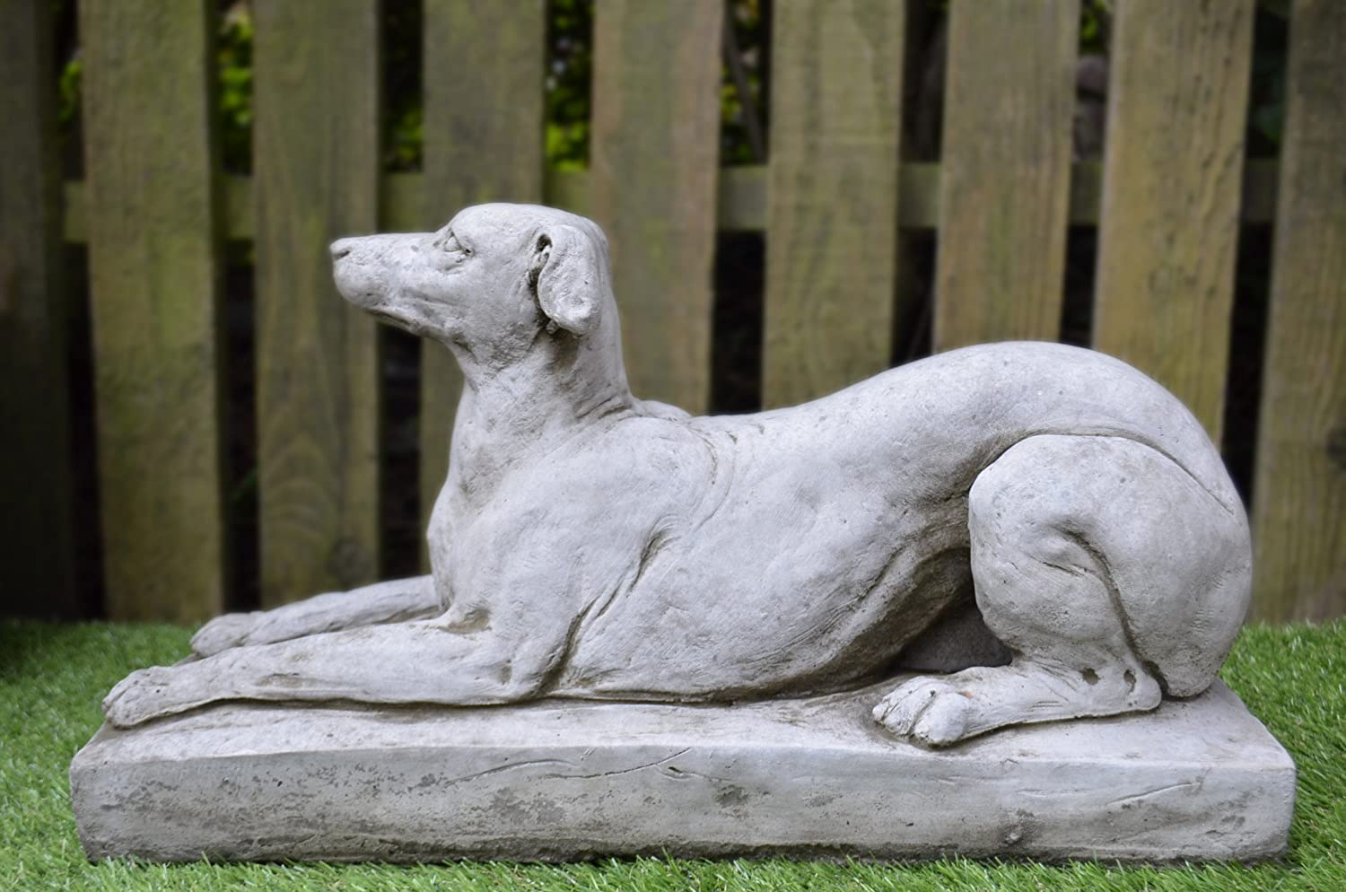 Greyhound On Plinth Cast Stone Garden Ornament Dog Statue
