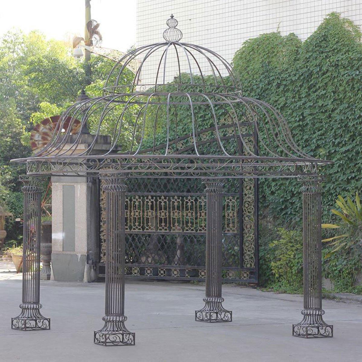 CLP runder Garten-Pavillon PALAIS aus stabilem Eisen, schlichtes & stilvolles Design, Ø 3,70 Meter, Höhe 440 cm bronze