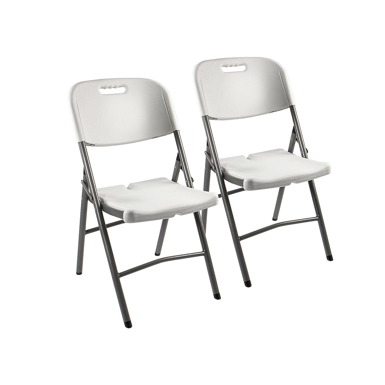 Vanage Klappstühle Klappstuhl Fred Kunststoff, zusammenklappbar, Weiß, 2-er Set