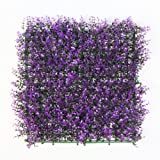 ULAND 6 Piece Artificial Boxwood Hedge Mat, Long Purple Leaves, Outdoor Wall Decoration, Garden Fence, Privacy Screen Decor (Color: Purple Boxwood)