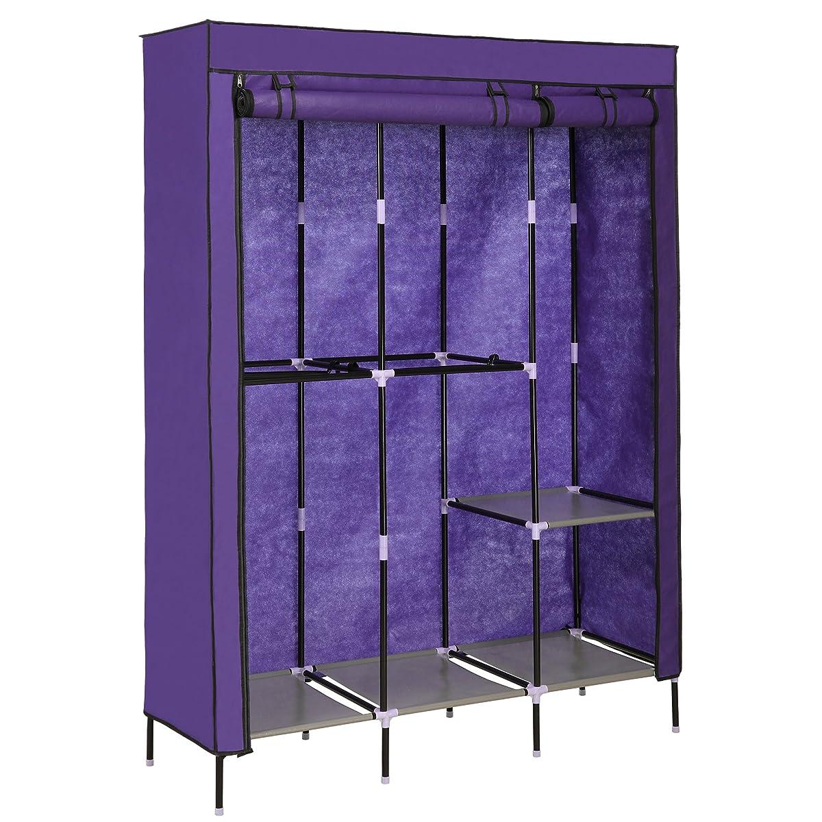 Homdox Storage Organizer Wardrobe Clothing Closet Freestanding Double Rod Non-woven Fabric Organizer w/Shelves
