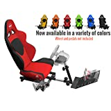 Openwheeler Racing Wheel Stand Cockpit Red on Black | For Logitech G29 | G920 and Logitech G27 | G25 | Thrustmaster | Fanatec Wheels | Racing wheel & controllers NOT included