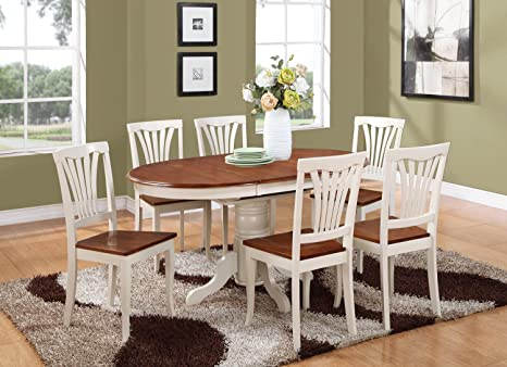 East West Furniture KEAV7-WHI-W 7-Piece Dining Table Set