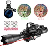 UUQ 4-16x50 Tactical Rifle Scope Red/Green Illuminated Range Finder Reticle W/RED(GREEN) Laser and Multi Optical Coated Holographic Reflex Dot Sight (12 Month Warranty) (Red Laser W/New Dot sight)