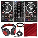 Numark Party Mix DJ Controller with Built-In Light Show and Headphones Accessory Bundle