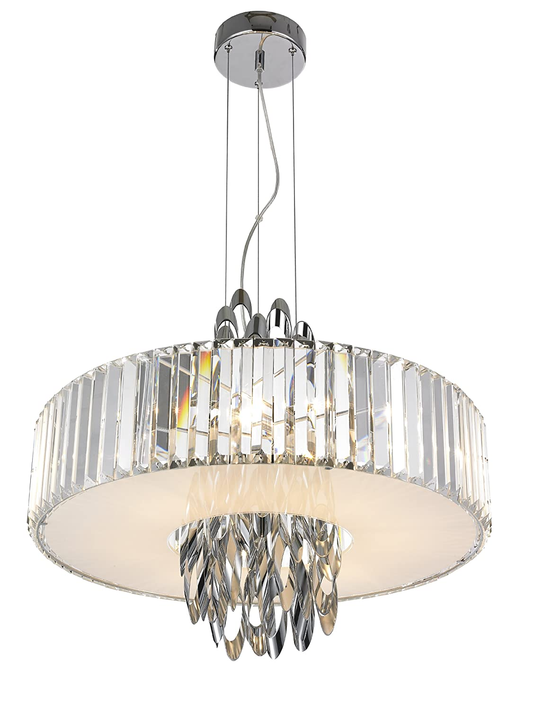 Vivienne Pendelleuchte Ornamenta silver / chrom mit Kristallbehang / Glas klar / Höhe 150 cm, ø 58 cm / kürzbar / 6 x G9 / max. 42W / inklusive Leuchtmittel / Stilrichtung Modern 390191