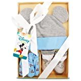 Disney Baby Boys Mickey Mouse Hat, Mitts and Socks Take Me Home Gift Set, Age 0-3M (Color: Blue, Grey, White, Tamaño: 0-3 Months)