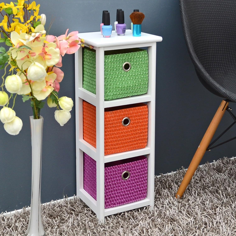 Kommode Nachttisch Schrank 62 cm Höhe Bad Regal Weiß mit 3 Körben in Orange Lila Grün für Kinderzimmer, Büro, Bad, Flur und Babyzimmer jetzt bestellen