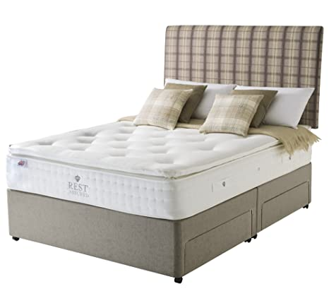 Rest Assured Norham Natural Latex 2000 4 Drawer Divan Bed and Mattress - Double, Tan
