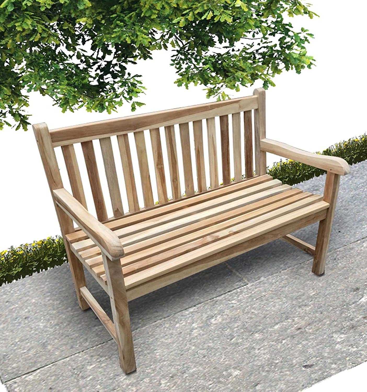 XXS® Teak Gartenbank Java 2 Sitzer 120 cm, Lager, Garten, Bank, geschliffene Oberfläche, naturbelassen, widerstandsfähig, Handarbeit, kombinierbar, teilzerlegt, Lieferung mit Paketdienst günstig bestellen