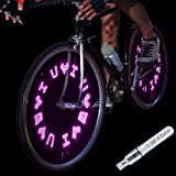DAWAY A08 Bike Tire Valve Stem Light - LED Waterproof Bicycle Wheel Lights Neon Flashing Lamp Glow in The Dark Cool Safe Accessories, 1 Pack, Pink Let