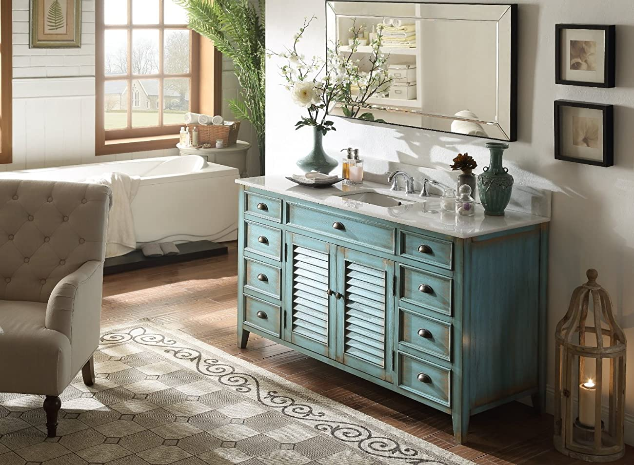 "60"" Cottage look Single Sink Abbeville Bathroom Sink vanity Model CF-66323BU-60 5"