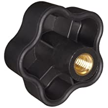 "DimcoGray Black Thermoplastic 5 Lobe Fluted Soft Feel Knob Female, Zinc Stud: 3/8-16"" Thread x 5/8"" Depth, 2-3/8"" Diameter x 1-5/8"" Height x 3/4"" Hub Dia x 11/16"" Hub Length (Pack of 10)"