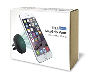 TechMatte MagGrip Air Vent Magnetic Universal Car Mount Holder for Smartphones including iPhone 6, 6S, Galaxy S6, S6 Edge - Black