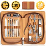 Pedicure Grooming Kit Manicure Set Ejiubas Stainless Steel Nail Clippers Kit Nail Cutter Set Women Men 14 Pieces with Portable Travel Case