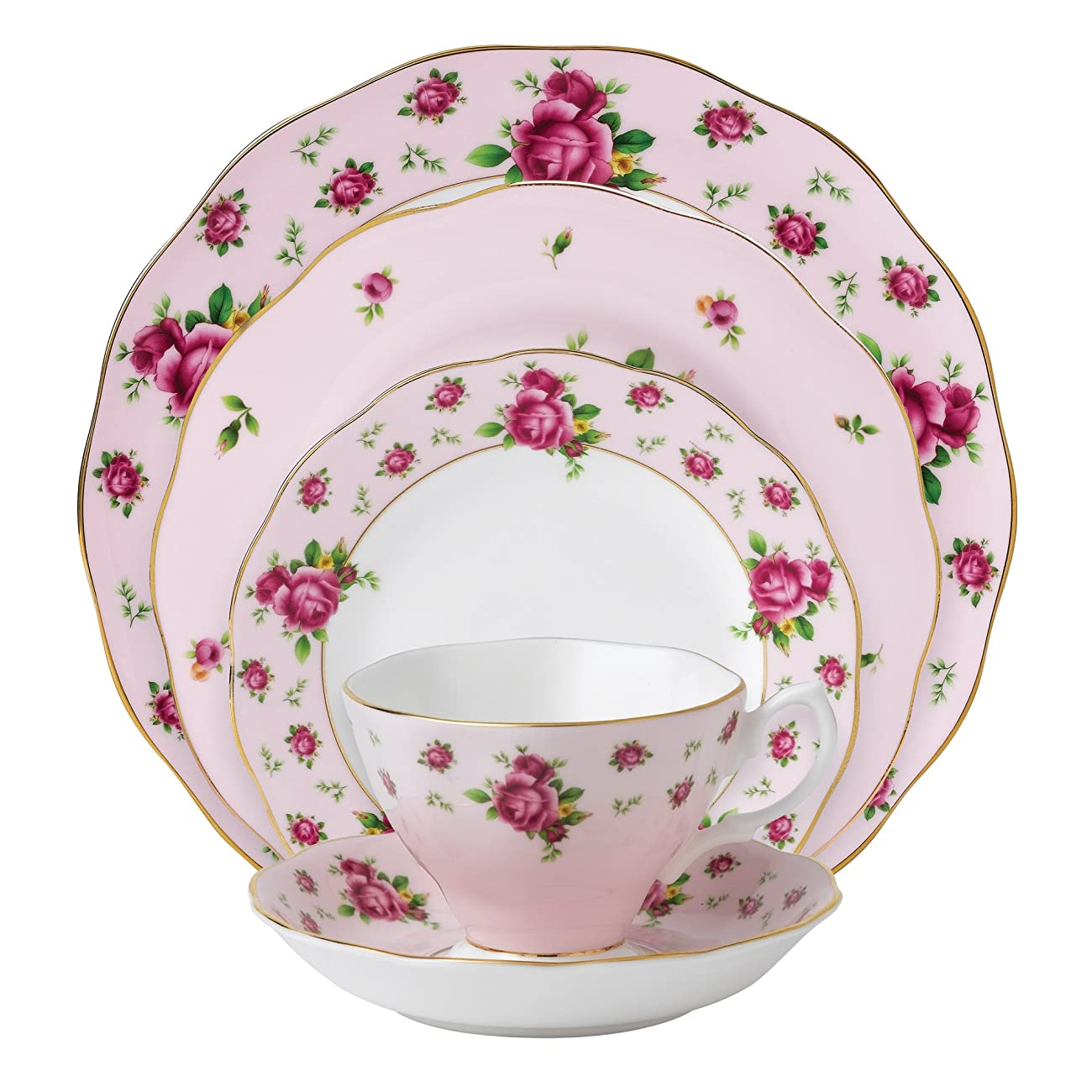 Royal Albert New Country Roses Pink Vintage Formal Place Setting, 5-Piece 0