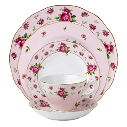 Royal Albert New Country Roses Pink Vintage Formal 5-Piece Place Setting by Royal Doulton