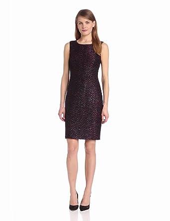 Elie Tahari Women's Estelle Sparkle Tweed Combo Sleeveless Sheath Dress, Black/Pink Multi, 14