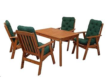 Ambientehome 90536 Gartengarnitur Gartenset Sitzgruppe verstellbarer Hochlehner Varberg braun inkl. grune Kissen und Tisch Evje 120x70 cm 9-teiliges Set