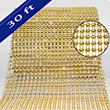 Bling Rhinestone Diamond Mesh Ribbon Wrap,Storystore Gold Acrylic Bling Diamond Wrap Ribbon for Wedding, Cake, Vase Decorations, Party Supplies(1 Roll, 30Ft,10 Yards)(Gold) (Color: Gold)